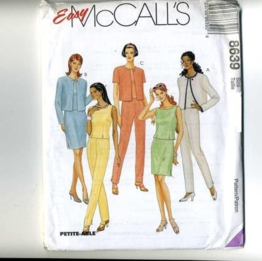 McCall's Sewing Pattern 8639 Misses' Unlined Jacket, Top, Pants & Skirt, Size B (8 10 12)