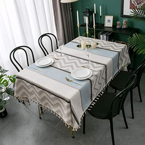 Epinki Mantel Jacquard de Franela de Chenilla Gris Mantel Poliéster Ideal para Mesa Buffet, Fiestas Tamaño 140x240CM