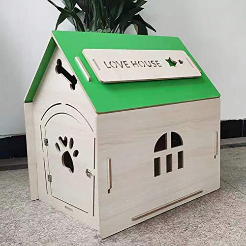 Zhyaj Hohe Qualität Hunde Villa Wetterfest Holz Teddy Hundehütte DIY Atmungsaktiv Hundezwinger Für Katzen,Grün,355 * 390 * 460mm