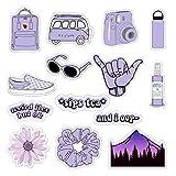 VSCO Vinyl Stickers for Hydro Flask, Water Bottle Stickers for Laptop Guitar Computer Phone Luggage Skateboard, Aesthetic, Trendy, Cute - Basic VSCO Girl Essential Stuff Pack for Teen Girls (Purple)