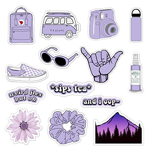 VSCO Vinyl Stickers for Hydro Flask, Water Bottle Stickers for Laptop Guitar Computer Phone Luggage Skateboard, Aesthetic, Trendy, Cute - Basic VSCO Girl Essential Stuff Pack for Teen Girls (Purple)