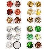 Juego de decoración de uñas, 24 diseños diferentes en plata, oro, verde y rojo, mezcla de purpurina, 915-103-106