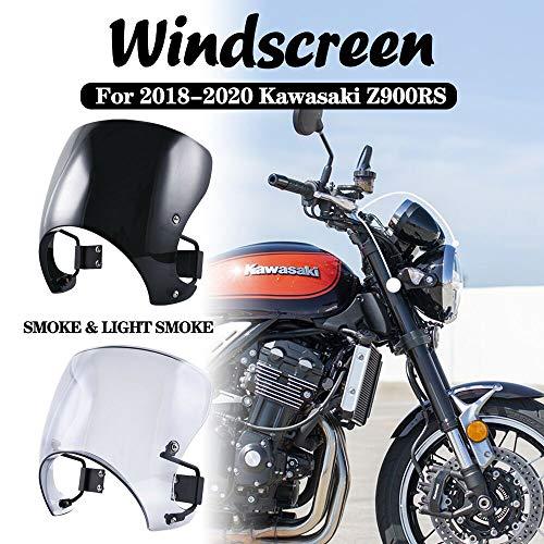 Z900RS Motocicleta Moto Pantalla protectora Parabrisas Cafe Racer Carenado Protector de viento para 2018 Kawasaki Z 900RS Z 900 RS (fumar)