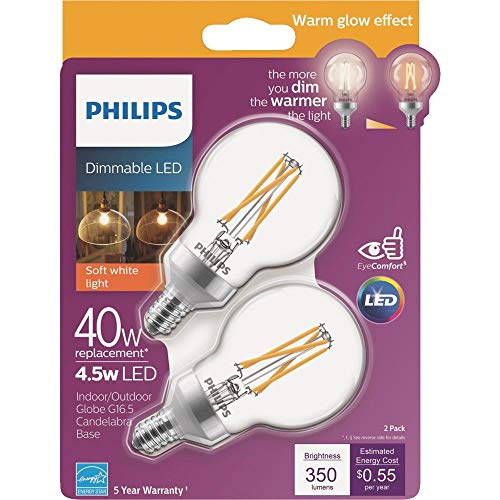 Philips 536730 LED Dimmable G16.5 Clear Filament Glass Light Bulb with Warm Glow Effect: 350-Lumens, 2700-2200 Kelvin, 4.5 (40-Watt Equivalent), Soft White, E12 Candelabra Base, 10 Pack, 10 Piece