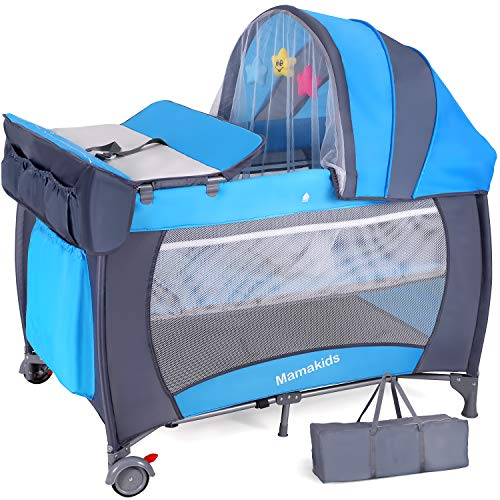 Hadwin Travel Cot with Mattress Included, 2 in 1 Foldable Baby Crib and Playpen, 115x77cm, Portable Infant Nursery Center Playpen Entryway with Wheels & Changing Table, Mosquito Net & Carry Bag, Blue