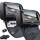 Universal Pair of Car Headrests with 7 Inch Dual DVD Player for Car Support USB SD IR FM Transmitter