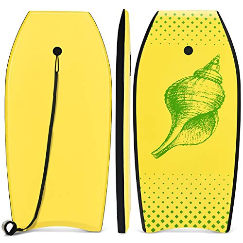 COSTWAY Bodyboard, Schwimmbrett Schwimmboard, Surfbrett Kinder und Erwachsene, Surfboard, Sup-Board 104x51x6cm (Gelb und grün)