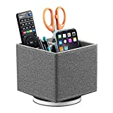 Leather Remote Control Holder, 360 Degree Spinning Nightstand TV Remote Caddy, Office Supplies Storage Box, Desk Organizer for Pencil, Mobile Phone, DVD, Blu-Ray, Heater Controllers, Media Accessories