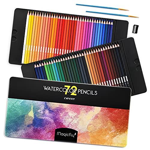 Magicfly Aquarellstifte 72 Farben Set mit 2 Pinsel, Buntstifte Aquarell, Farbstifte wasserlösliche für Kinder und Erwachsene