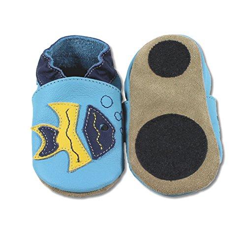 HOBEA-Germany Trotteur Motif Animal avec Semelle antidérapante, Chaussons Enfant Filles et garçons, Chaussures bébé en Cuir, Pointure:22/23 (18-24 Monate), Chaussures modèle:Poisson