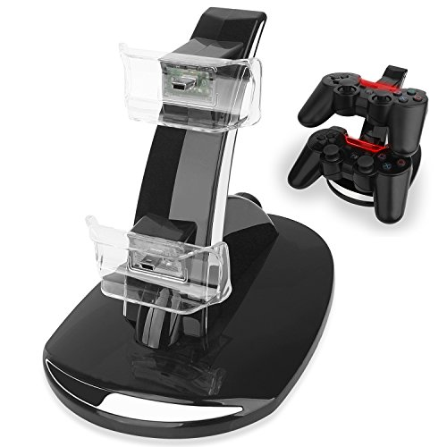 PS3 Controller Ladegerät Dockingstation Playstation 3 Ladestation USB Dual Holder Cradle, mit LED Anzeige