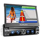XOMAX XM-DN763 Autoradio con mirrorlink, navigatore GPS, vivavoce bluetooth, schermo touch screen 7 pollici / 18 cm, RDS, DVD, CD, USB, SD, AUX, 1 DIN