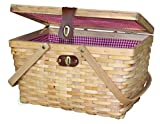 Vintiquewise QI003148N Woodchip Large Picnic Basket Red and White Gingham Lining Folding Handles, 14.5' x 10' x 8.75', Natural