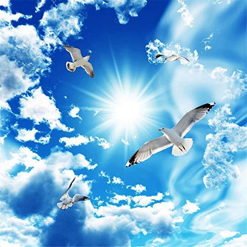 Sxjhds Wandbild Tapete Zenith Wandbild Tapete 3D Stereo Blauer Himmel Weiße Wolken Taube Natur Landschaft Foto Wandbild Deckentapete, 400 * 280Cm