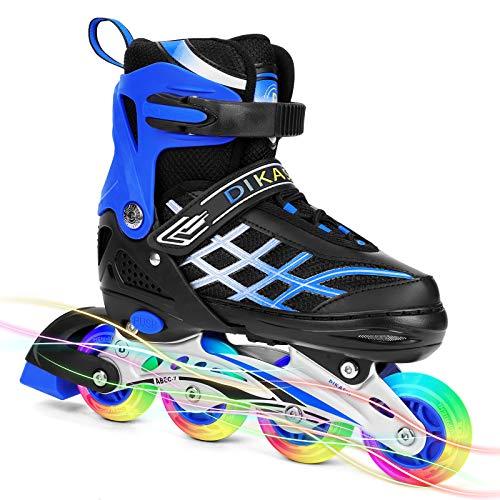 Rollschuhe Inline Skates Kinder Jungen Mädchen Einstellbare Rollschuhe Mit Leucht PU Räder Dreifach Schutz Inline Skates Inliner Geschenk für Kinder Blau S