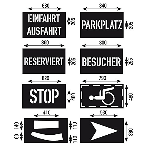 TMS PRO SHOP Schablonen-Set, Wörter und Symbole, 8-teilig, Kunststoff, wiederverwendbar aus Kunststoff
