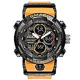 Orologi da polso 49 mm impermeabile luminoso allarme cronografo rapporto puntualmente giorno / mese Display sportivo doppio display orologio sportivo (colore : nero arancione)