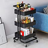 Storage Trolley Cart - 3 Tier Metal Rolling Utility Organizer Rack, Craft Art Cart, Multi-Purpose Organizer Shelf, Tower Rack Serving Trolley for Office Bathroom Kitchen Kids' Room Laundry Room, Black