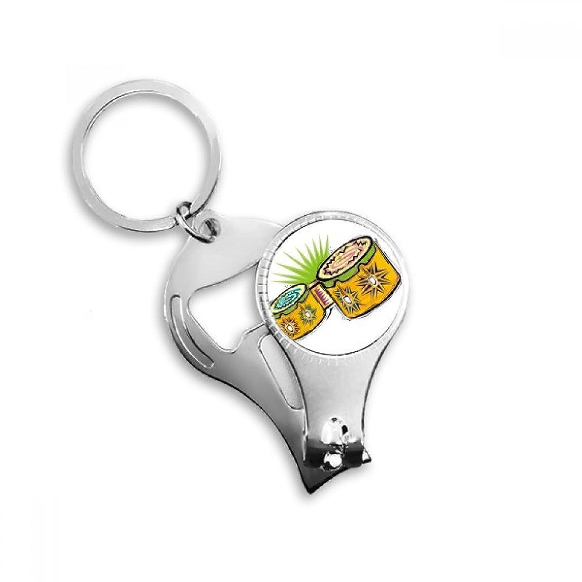 時間厳守ズボンリハーサルPINGFUFF HOME 黄色の手描き楽器Mexicon文化要素イラストメタルキーホルダーリング多機能ネイルクリッパー栓抜き車のキーホルダー最高のチャームギフト