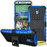 HTC Desire 620 Handy Tasche, FoneExpert® Hülle Abdeckung Cover schutzhülle Tough Strong Rugged Shock Proof Heavy Duty Hülle für HTC Desire 620 + Bildschirmschutzfolie (Blau)
