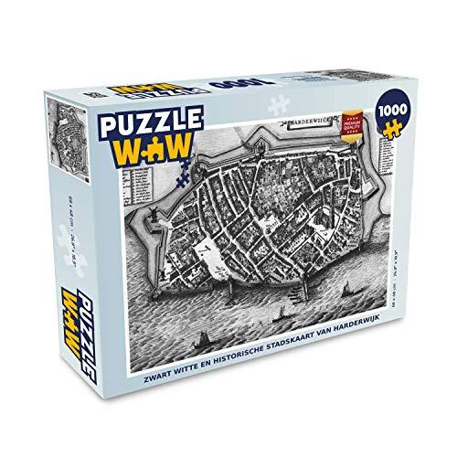 Puzzel 1000 stukjes volwassenen Historische stadskaarten 1000 stukjes - Zwart witte en historische stadskaart van Harderwijk - PuzzleWow heeft +100000 puzzels - legpuzzel voor volwassenen - Jigsaw puzzel 68x48 cm