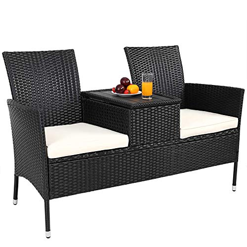 Deuba Poly Rattan Garden Love Seat Outdoor Patio Black Wicker 2 Seater Partner Bench w/Cushion