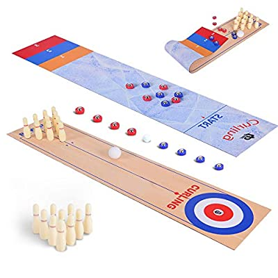 Shuffleboard and Bowling Board Game 2 in 1, Tabletop Curling Game - Party Games for Kids and Adults - Portable Mini Tabletop Games for Family School