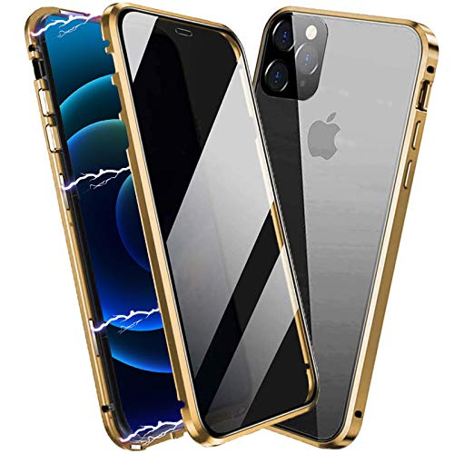Techicon Privacy Magnetic Case Compatible with iPhone 12/12 Pro, Anti Peep Magnetic Adsorption Privacy Screen Protector Double Sided Tempered Glass Metal Bumper Frame Anti Peeping Anti-Spy Phone Case