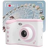 Jinyi Cámara para niños, cámara de Video HD, Correa para Colgar con Pantalla táctil para Tomar Fotos, Grabar Videos(Pink, Pisa Leaning Tower Type)