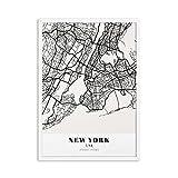 LTGBQNM American Style New York City Map Canvas Pintings Build Photo Wall Art Fotos Pósteres y Prints para la Sala de Estar Decoración de la casa 24x36inchx1 No Frame