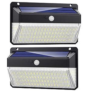 Luz Solar Exterior 228 LED, Trswyop [2 Unidades-2000 Lumens-2200mah] Foco Solar Exterior con Sensor de Movimiento Luces led con Gran Ángulo Iluminación 270º Lámpara Solar Impermeable IP65 para Jardín