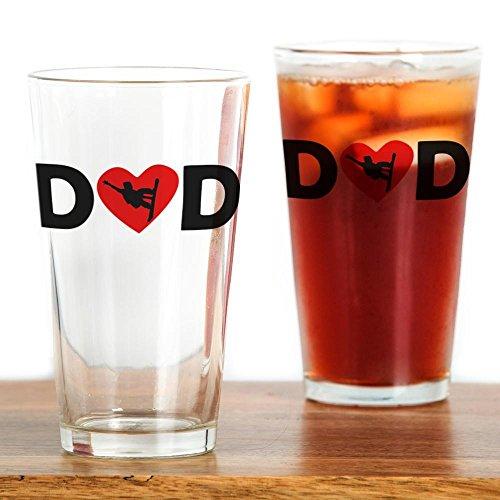 CafePress–Snowboard–Herz Dad–Pint-Glas, 16oz Trinkglas farblos