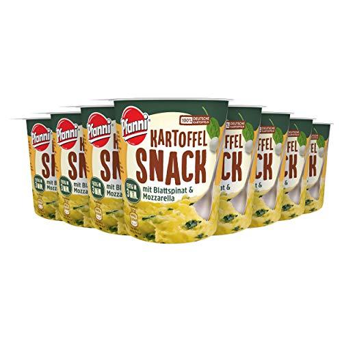 Pfanni Kartoffelpüree ideal für zwischendurch mit Blattspinat und Mozzarella aus nachhaltiger Landwirtschaft 8er Pack ( 8 x 47 g )