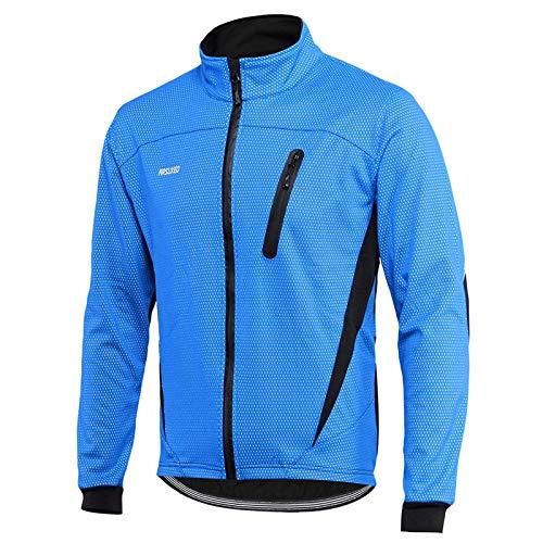 XDKS - Giacca da ciclismo da uomo, impermeabile, antivento, in jersey, caldo cappotto termico Blu L