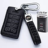 Hey Kaulor Compatible with fit for Cadillac SRX CTS XTS ATS Chevy C7 Corvette 5-Buttons Leather Keyless Entry Remote Control Smart Key Fob Cover Pouch Bag Jacket Case Protector Shell