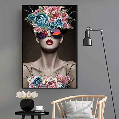 Moderne Modellblumenfrauenplakat und Drucke auf Leinwand auf Abstrakter Wanddekoration,Rahmenlose Malerei-30X45cm