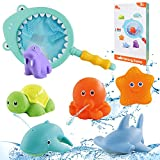 Baby Badespielzeug Set,7 Stück Badewanne Spielzeug,Badewannenspielzeug für Baby ab 1 2 3 Jahre,Wasserspielzeug Badespielzeug,Badespielzeug mit Fischernetz,Badewannenspielzeug mit Fischernetz