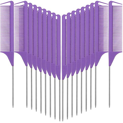 18 Pieces Parting Comb for Braids, Rat Tail Comb Stainless Steel Pintail Comb Teasing Combs for Hair Cutting Hair Styling Hairdressing (Purple)