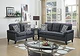 Poundex F6905 Bobkona Tyler Linen-Like 2 Piece Sofa and Loveseat Set, Blue Grey