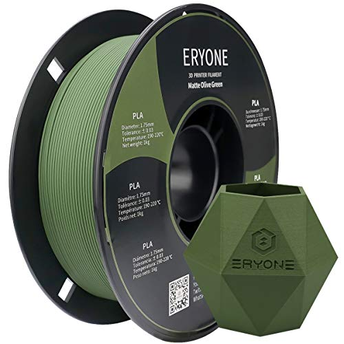 Filamento PLA mate Eryone de 1,75 mm, filamento PLA para impresora 3D, precisión dimensional +/- 0,03 mm, carrete de 1 kg (2,2 libras), Verde oliva mate