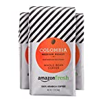 AmazonFresh Colombia Whole Bean Coffee, Medium Roast, 12 Ounce (Pack of 3) 8 Balanced, full-bodied medium roast with a smooth finish One 32-ounce bag of whole bean coffee 100% Arabica coffee grown in Colombia