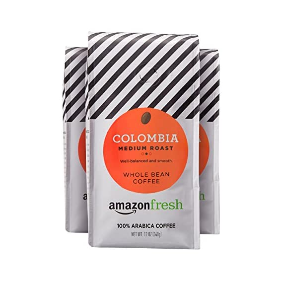 AmazonFresh Colombia Whole Bean Coffee, Medium Roast, 12 Ounce (Pack of 3) 1 Balanced, full-bodied medium roast with a smooth finish One 32-ounce bag of whole bean coffee 100% Arabica coffee grown in Colombia