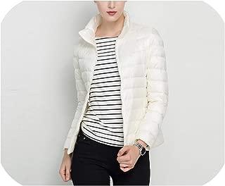 White Duck Down Jacket Slim Women Winter Puffer Jacket Portable Windproof Down Coat