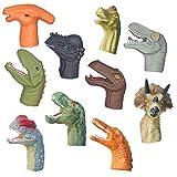 SOIMISS - 10 pezzi di dinosauro Marionette da dita colorate Dino teste di dito, guanti da gioco, giocattolo educativo per il compleanno o la festa