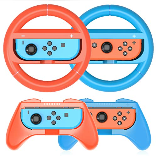 HEYSTOP Volantes y Grip Switch Joy-Con para Nintendo Switch, Switch Joy-Con Racing Wheel Volante, Mandos Grip Joy-Con para Mario Kart Juegos/Joy-Con Mandos Nintendo Switch Deluxe 4 Piezas(Rojo y Azul)