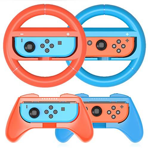 HEYSTOP Volantes y Grip Switch Compatible con Nintendo Switch, Switch Grip Racing Wheel Volante, Mandos Grip para Mario Kart Juegos Mandos Compatible con Nintendo Switch Deluxe 4 Piezas(Rojo y Azul)