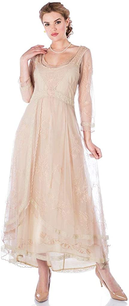 Nataya 40163 Women's Downton Abbey Vintage Style Wedding Dress in Vintage