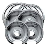 Range Kleen Style D Heavy Duty Drip Pans and Trim Rings (Includes 2 Small and 2 Large) for GE Hotpoint