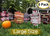 6PCS Yard Signs for Halloween?Beware Signs Yard Stakes Warning Yard Sign Stakes for Halloween Decorations Outdoor Lawn Decorations, 15' x 11' Yard Decorations for Haunted House, Scary Theme Party