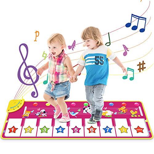 Vimzone Klaviermatte, Piano Mat Tanzmatten Musikmatte Kinder 8 Tierstimmen Klaviertastatur Spielzeug Musik Matte, Keyboard Matten Spielteppich Baby Tanzmatte für Jungen Mädchen Kleinkind
